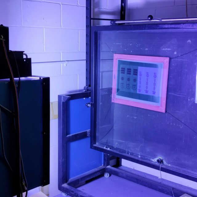 Doing it for the exposure. This is our vacuum exposure unit and UV light doing their job. I really like this stage of the process, it's a bit like magic! Well, a bit of chemistry anyway 😊 The light burns the artwork into the emulsion, creating the screen we then use to print. #screenprinting #exposureunit #makingscreens #allinadayswork