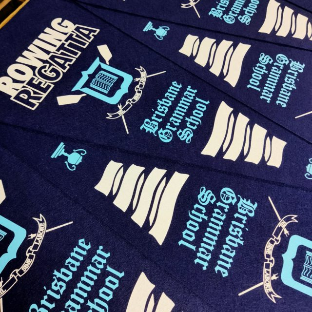 Perfect Pennants Our latest bunch of 2 colour felt pennants are coming out of the dryer. These are now off to get their finishes sewn on, but don't they look amazing? 🌟🌟🌟🌟🌟 #regattabrisbane #rowingbrisbane #brisbanesportawards #screenprinting #trophyroom #achievements #feltpennants